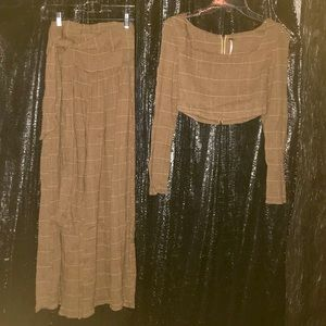 Free People 2 piece crop top and pant set, size 0